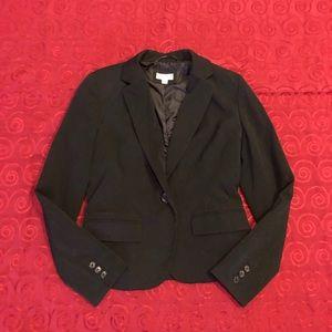 Merona Black Blazer Collared Button Cuff Slit 4